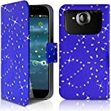 Seluxion-Funda tipo cartera universal tamaño L, diseño de brillantes, color azul, para Acer Liquid Jade