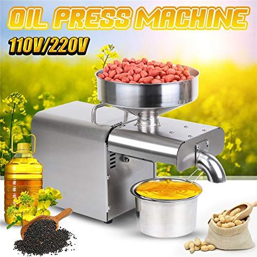 LQQ 2020 220V / 110V Haushaltsölpresser Edelstahl Ölpressmaschine EU/US-Stecker Erdnuss Olivenöl-Hersteller Verwenden for Sesame Mandel Walnuss (Voltage : 220V)