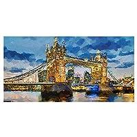 抽象絵画ロンドンタワーブリッジは、フレーム付きのリビングルーム(30x60cm)のキャンバスポスターとプリントアートワークの壁アート写真を構築しました