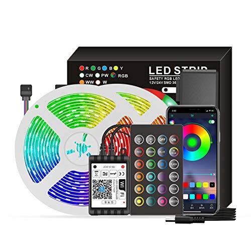 Eastdall Luzes De Tira Led Com Mudança De Cor,Smart Wifi LED RGB Strip Lights 16,4 pés. Luzes que mudam de cor 5050 com voz e APP e 24 teclas de controle remoto Luzes de fita de decoração de Natal