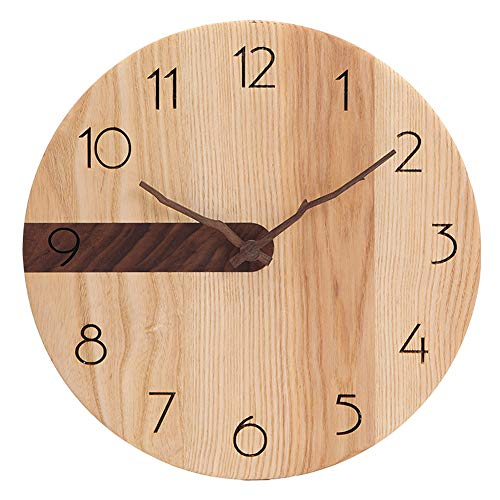 ZRSZ Reloj De Pared De Madera para El Hogar, Reloj De Pared Silencioso Moderno Y Silencioso, Cocina Sala De Estar De La Oficina En El Hogar Dormitorio | 30 Centimetros