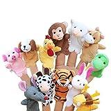 LIMEOW Finger-Puppen Set Fur Kinder Familie Fingerpuppen Set Finger Plüschtier Fingerpuppen Spielzeug Baby Fingerpuppen Set Kleine Tier Fingerpuppe für Geburtstag Kinder Taufe Babyparty(12 insgesamt)