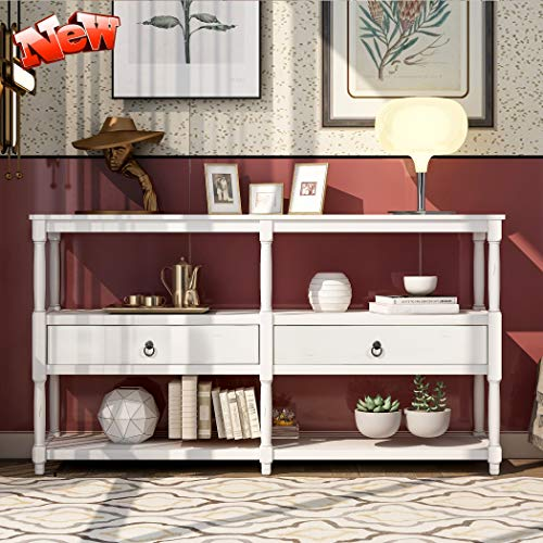 LEEKOUS Upgraded Version 3-Tier Rustic Console Table for Entryway, Best 58in Sofa Side Table Hallway Table with Exquisite Drawers and Open Storage Shelf for Living Room, Easy Assembly (Antique White)