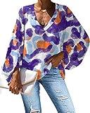 SLYZ Mujeres Europeas Y Americanas Primavera Nueva Camisa Suelta con Cuello En V De Manga Larga con Estampado Degradado Camisa Camisa De Gasa De Manga Larga
