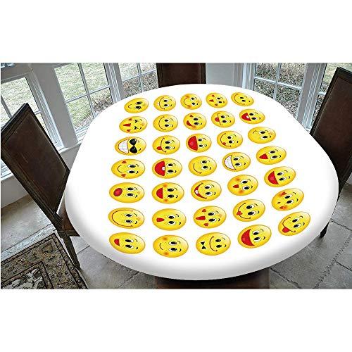 Nappe en polyester avec bords élastiques - Motif têtes jaunes amusantes - Différentes formes de visages - Nappe décorative - Pour table ovale ou Olbong - 61 x 121,9 cm - Pour vacances, maison, Noël