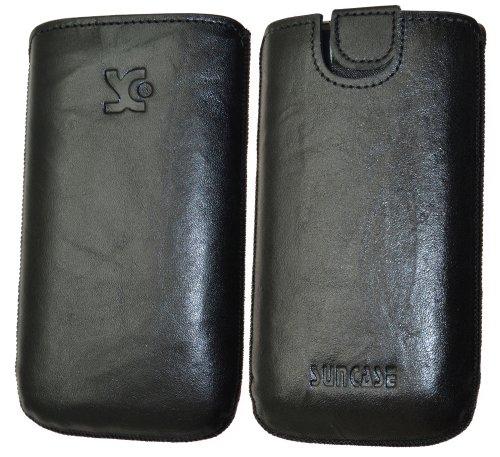 Suncase Original Tasche für AEG Voxtel SM315 Leder Etui Handytasche Ledertasche Schutzhülle Case Hülle - Lasche mit Rückzugfunktion* in wash schwarz
