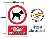Cartel Resistente PVC - Señaletica de advertencia - (CUIDADO PERRO PELIGROSO) - señal ideal para colgar y advertir