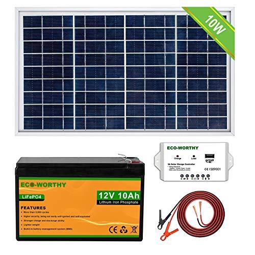 ECO-WORTHY Kit completo de panel solar 10W 12V: panel solar de 10W + batería de litio de 3Ah + controlador de 10A, ideal para sistemas fuera de la red como gallinero, puerta automática, aparato de CC