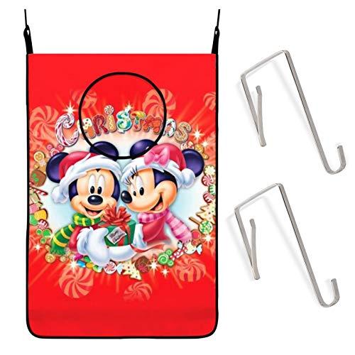 SHANXISJ Cartoon Mi-ckey Mou-se Hanging Laundry Hamper Bag Large Sized Waterproof Fabric Laundry Hamper with Hook Up Storage Bags,for Dorm,Closet,Storage,Space Saving