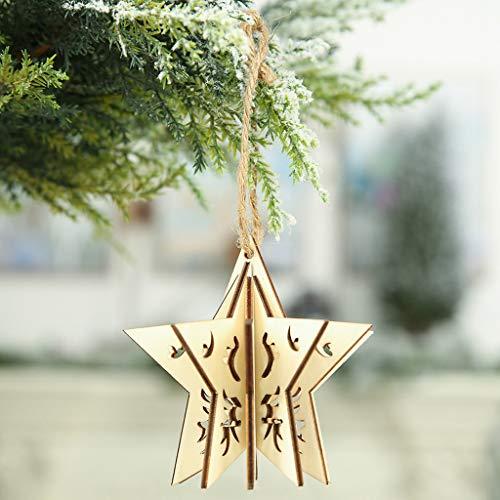 Higlles Weihnachten Dekorationsgegenstände Dreidimensional Aus Holz DIY Anhänger Pentagramm Creative Weihnachtsbaum Hängende Verzierung