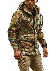[LHT]アウトドア ジャケット メンズ 多機能ウインドブレーカー フード付き 秋冬春 登山服 耐磨耗性 ワーク カーゴジャケット タクティカル軽量防水M-2XL