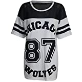Damen T-Shirt Chicago 87 Wolves Lockeres Übergroßes Baseball T-Shirt Kleid Langes Top - S/M (EU...