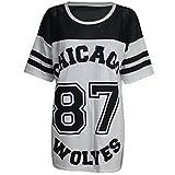 Damen T-Shirt Chicago 87 Wolves Lockeres Übergroßes Baseball T-Shirt Kleid Langes Top - M/L (EU 40/42), Grau