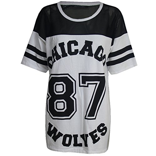 Damen T-Shirt Chicago 87 Wolves Lockeres Übergroßes Baseball T-Shirt Kleid Langes Top - S/M (EU 36/38), Grau - Chicago Neu Dehnbar University Party