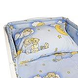 BlueberryShop set di biancheria in cottone da letto, copri piumino 90 x 120 cm, copri cuscini 40 x 60 cm, protezione per lettino 35 x 150 cm, Blu Orso sulla scaletta
