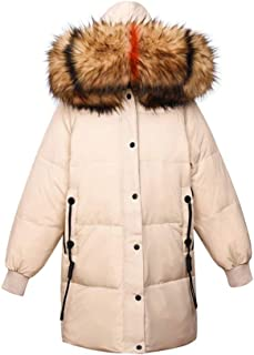 Women's Down Jackets Winter Casual Loose Large Size Fashion Outdoor Warm Fur Collar Thick Large Collar Coat Long Hooded Jacket (Color : White, Size : M)