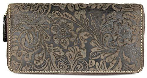 BELLI hochwertige Vintage Leder Damen Geldbörse Liane Portemonnaie langes Portmonee Geldbeutel langes Portmonee aus weichem Leder in braun Gemustert - 19,5x10x3cm (B x H x T)