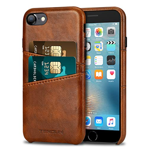 TENDLIN Compatible with iPhone SE 2020 Case/iPhone 8 Case/iPhone 7 Case Wallet Design with 2 Card Holder Slots Premium Leather Case (Brown)