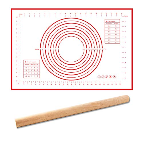 Covotna Silicone Pastry Mat and Rolling Pin Set with Measurements Non-Slip mat for Baking Dough Rolling Mat Cookie Fondant Pastry Pizza Pie 16in *24in(Red)