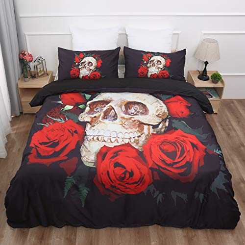 WONGS BEDDING Bettwäsche 3D Totenkopf & Rosen Bettbezug Set 135x200 cm Bettwäsche Set 2 Teilig Bettbezüge Mikrofaser Bettbezug mit Reißverschluss und 1 Kissenbezug 50x75cm