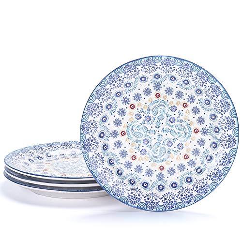 Bico Blue Talavera Salad Plates Set of 4, Ceramic, 8.75 inch, Microwave & Dishwasher Safe