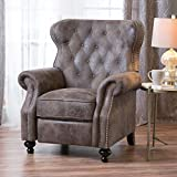 Christopher Knight Home Waldo Tufted Wingback Recliner Chair(Warm Stone), 35.83 x 39.76 x 41.34