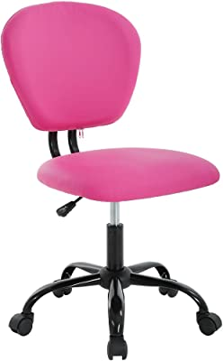 Office Chair Desk Chair Computer Chair with Lumbar Support Without Armrest Modern Executive PU Leather Adjustable Task Chair Rolling Swivel Mid Back Task Chair for Adults, Girls(Pink)