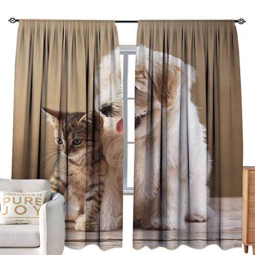 Denruny Door Curtain Animal,Cute Baby Cat Kitten and Puppy Dog Best Friends Image Photo Artwork,Sand Brown Cream and White W108 x L108 inch,Darkening Drapes Thermal Insulated