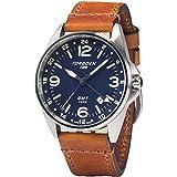 Torgoen T25 Blue GMT Pilot Wrist Watch | 41mm - Vintage Leather Strap