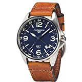 Torgoen T25 Blue GMT Pilot Wrist Watch | 41mm - Vintage Leather Strap | Sapphire Crystal