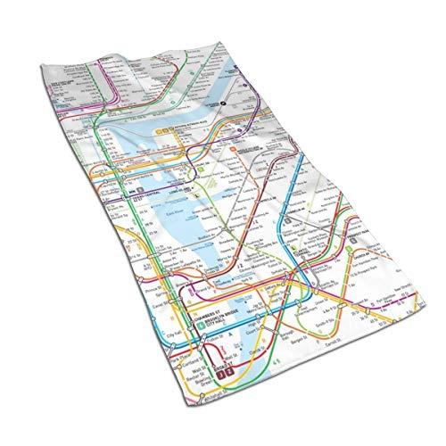 Juego de toallas de baño de algodón egipcio con impresión de acuarela y impresión artística, ultra absorbente, para viajes, deportes, mapa del metro de Nueva York, 69,8 x 39,9 cm