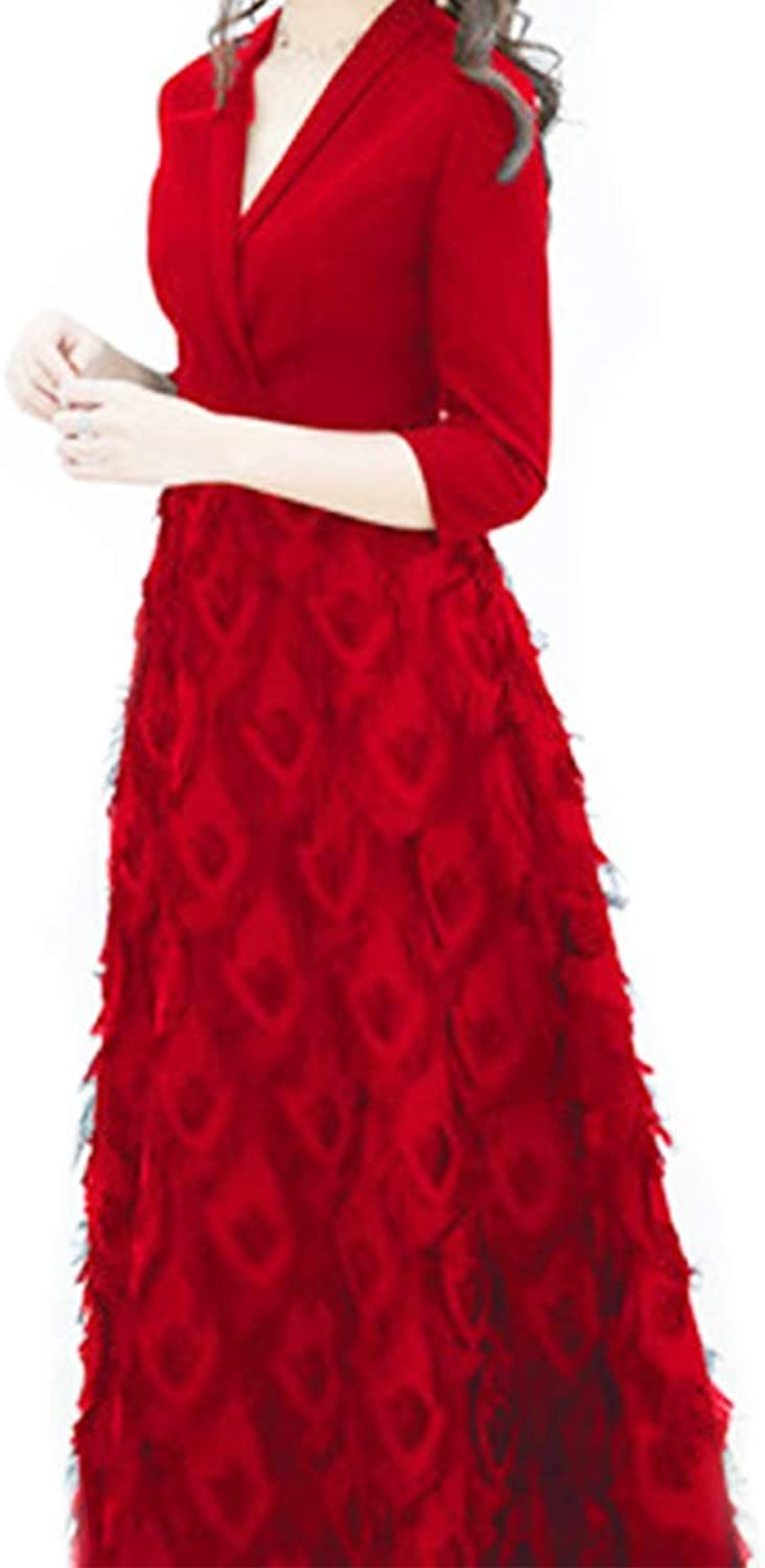 Souliyan Women's White Embroidered Lace Evening Dress (color   Red)