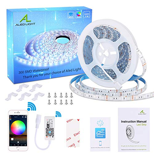 Luces de Tira LED WiFi, ALED LIGHT RGB 5 Metros 300 LEDs 5050 SMD Multicolor Impermeable Tira de LED Kit Completo Funciona con Alexa, Google Home, WiFi Teléfono Inteligente Inalámbrica Luces LED Kit