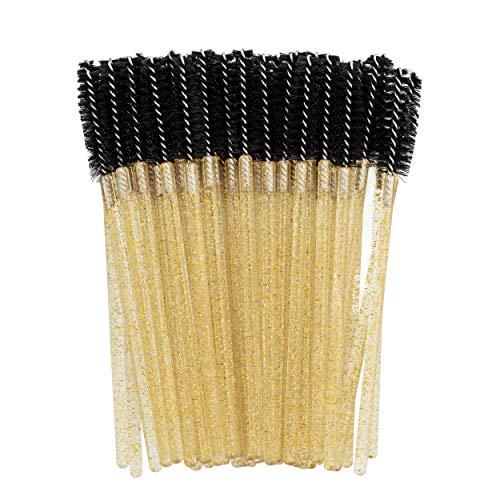 PROFICO 50 Stück Wimpernbürsten | Einweg Wimpern Bürste | Wimpernbürstchen Set | Mascara Bürste Mascara Applicator (Glitter Gold)