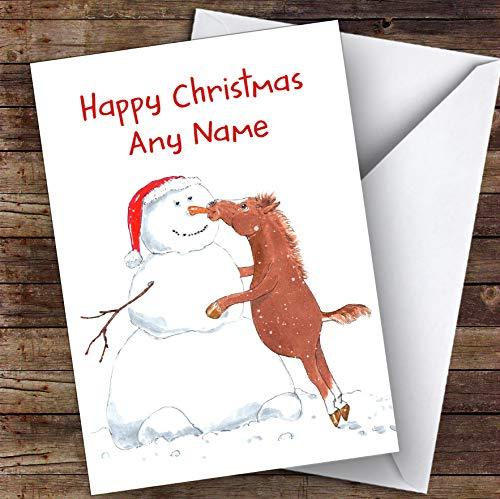 Paard Eten Sneeuwman Neus Grappige Grap Gepersonaliseerde Kerstkaart