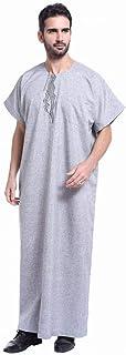 DAIDAICP Fashion Men Arab Kaftan Saudi Thobe Thoub Abaya Robe Daffah Dishdasha Muslim Clothing