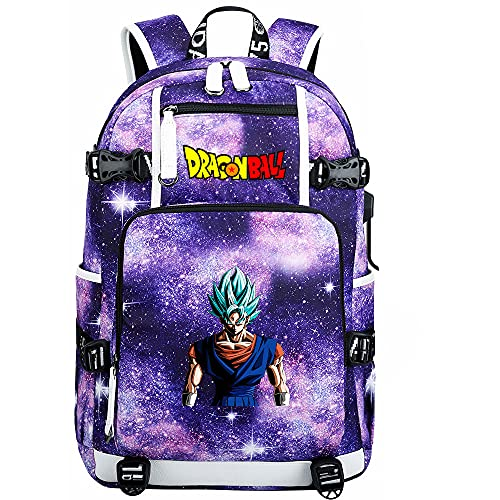 ZZGOO-LL Dragon Ball Son Goku/Vegeta IV/Torankusu Anime Backpack Middle Student School Rucksack Daypack for Women/Men with USB-D