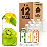 Norcalway 8 oz Plastic Juice Bottles with Caps Lids - Smoothie Bottles, Drink Juice Containers with Lids, Reusable Juice Bottles for Juicing, 12 Pack