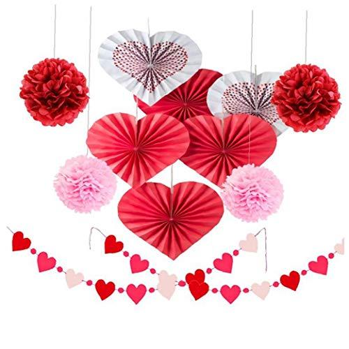 Saint Valentin Décor Valentine Hanging Swirl Décorations cordes Garland Papier de soie fleur Pom Poms Party Filles Saint-Valentin Décoration 1Régler fournitures ménagers