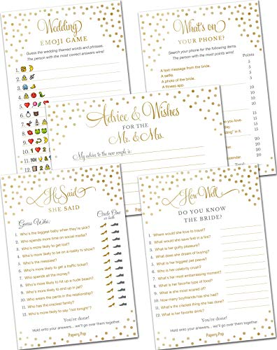 Bridal Shower Games - Wedding Games - Set of 5 Activities - (50 Cards Each, 250 Total) - Bridal Shower Supplies - Gold Polka Dots