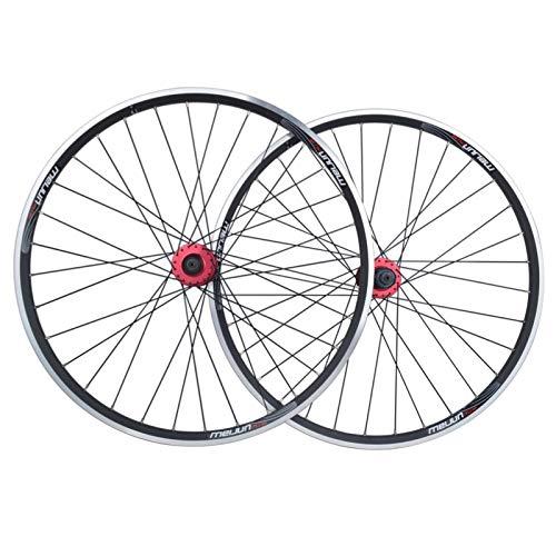 ZPPZYE Ruedas de Bicicleta MTB 26 Pulgadas, Pared Doble Aleación de Aluminio Ruedas de Ciclismo 32 Hoyos Freno de Disco/V para Velocidad 7/8/9/10 (Color : Black)