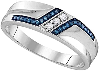 Solid 925 Sterling Silver Round Blue and White Diamond Men's Channel Set Wedding Band OR Fashion Ring (1/5 cttw)