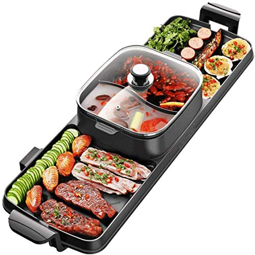 DHGG 2 in 1 BBQ & hot Pot, Table Party Grill and hot Pot (6-8 People), raclette Non Stick, Great Gift idea