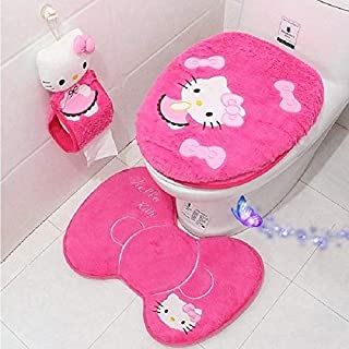 Eliphs 4PCS Hello Kitty Bathroom Set Toilet Cover WC Seat Cover Bath Mat Holder Pink/Rose Red (Rose Red)