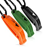 Kids Safety Emergency Whistles with Lanyard – Easy to Use for Signaling Attention – Essential Survival & Personal Safety Gear for Family Vacations, Camping, Boating & More – Set of 3 Rescue Whistles