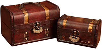 Dreamseeker Wooden Storage Box, Vintage Style Wood Decorative Boxes, Decorative Treasure Box with Latch for Wardrobe Office Living Room (2 Piece)