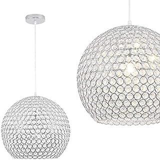 NAIZY - Lámpara de techo redonda con forma de bola de cristal, de acero inoxidable, diámetro de 40 cm, con casquillo E27, para salón, dormitorio, sin bombilla