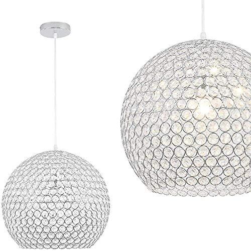 NAIZY Moderne Kugel Kristall Pendelleuchte - Rund Deckenleuchte Edelstahl Kronleuchter Ø 40cm mit E27 Sockel - für Wohnzimmer Schlafzimmer, ohne Leuchtmittel