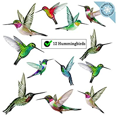 12 Hummingbird Window Clings - Beautiful Anti-Collision Window Stickers - Non Adhesive and Reusable Vinyl Window Decals for Birds Strikes
