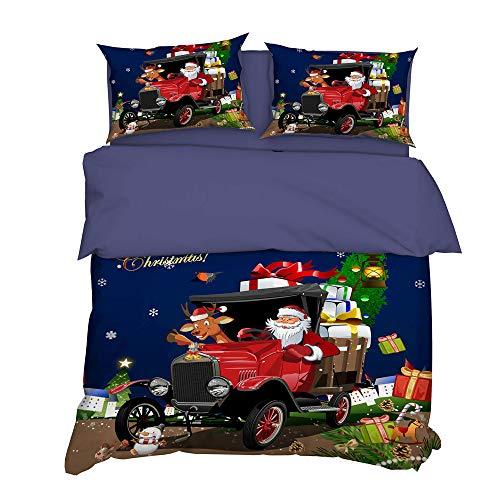 QXbecky Christmas Santa 4pcs Elk 3pcs Christmas Gift 3D Digital Printing Bedding